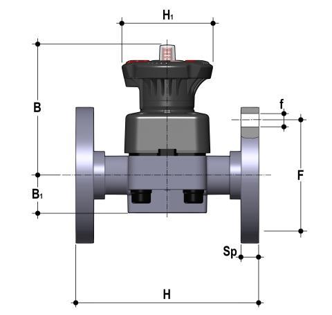 Фото Мембранный клапан DK c фланцевыми окончаниями d32 (DN25)