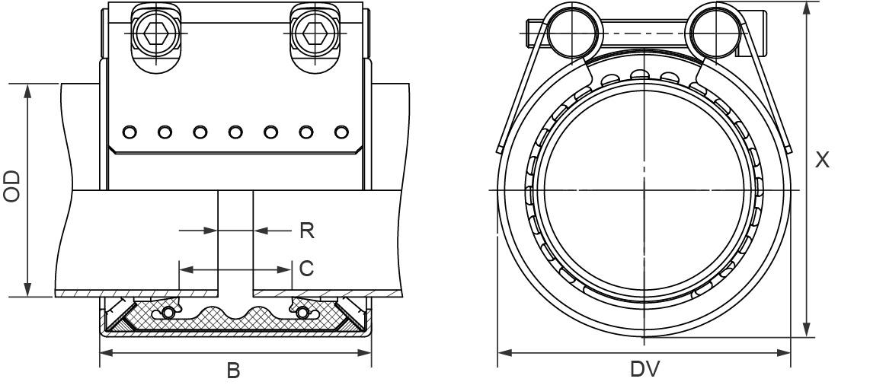 Муфта соединительная Straub-METAL-GRIP, NBR,  W2 d133
