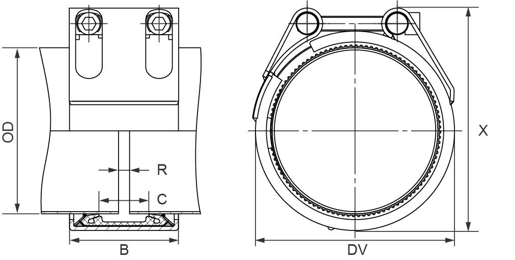 Муфта соединительная Straub-METAL-GRIP, NBR,  W1 d558