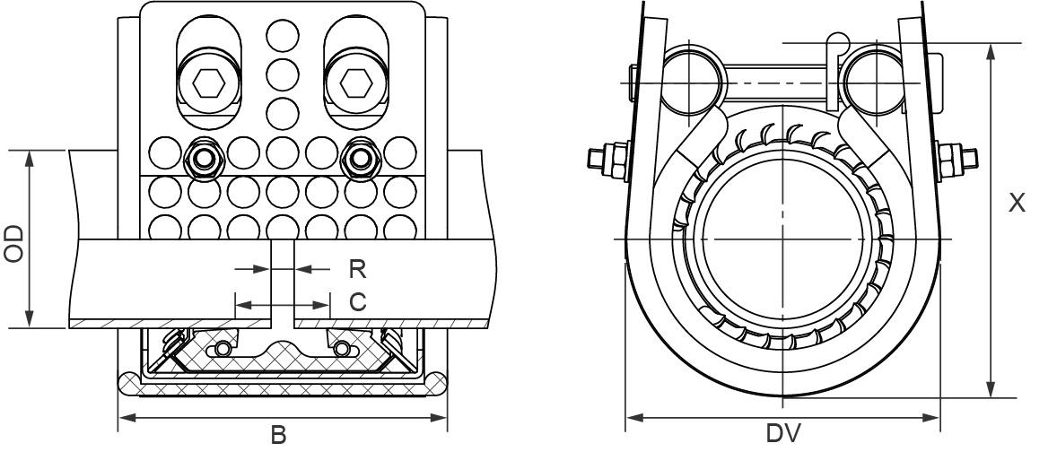 Огнестойкая муфта METAL-GRIP-FIRE-FENCE, EPDM, W2 d63