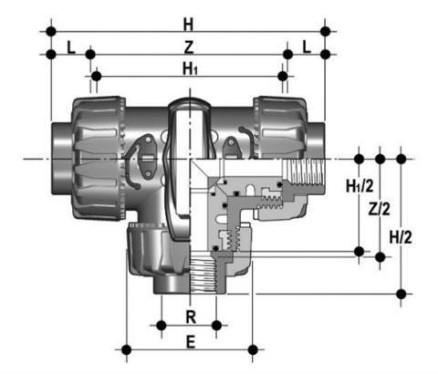 Фото 3-х ходовой шаровой кран TKD с резьбовыми окончаниями L-шар R3/4'' (DN20)