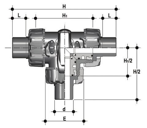 Фото 3-х ходовой шаровой кран TKD с втулочными окончаниями, L-шар d63 (DN50)