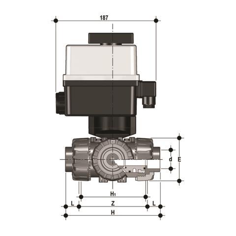 Фото 3-х ходовой шаровой кран TKD с эл.приводом 90-240V, муфтовые окончания, L-шар d40 (DN32)
