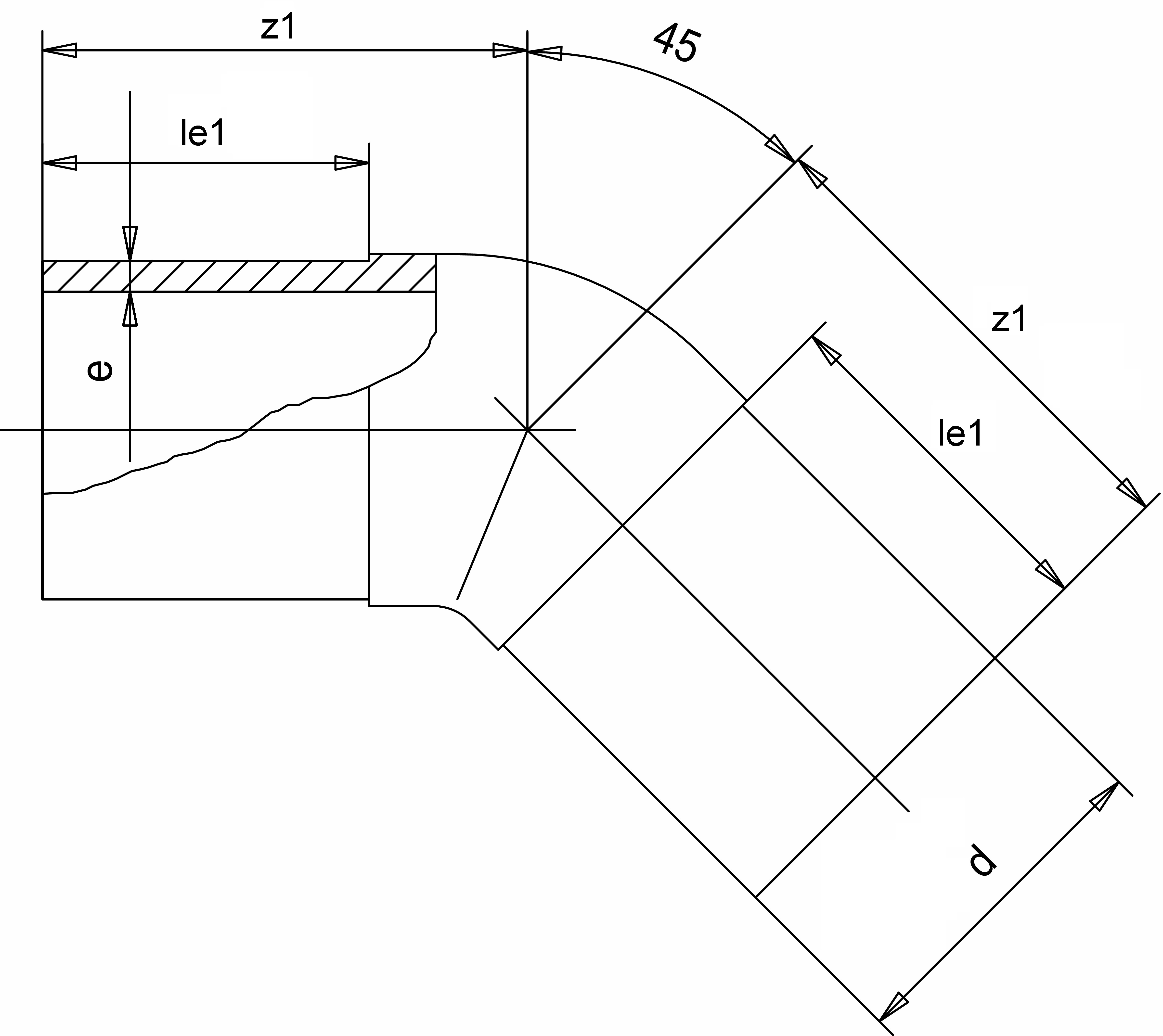 Отвод 45° (Simona) d200 SDR21 PN16