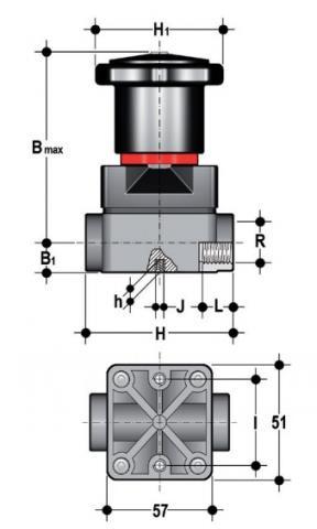 """Фото Компактный мембранный клапан CM с резьбовыми окончаниями R1/2"""" (DN15)"""
