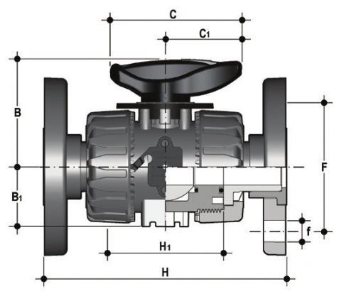 Фото Шаровой кран для регулирования потока VKR c фланцевыми окончаниями d63 (DN50)