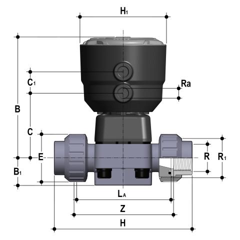Фото Мембранный клапан DK с пневмоприводом НЗ PN6, резьбовые окончания R1/2'' (DN15)