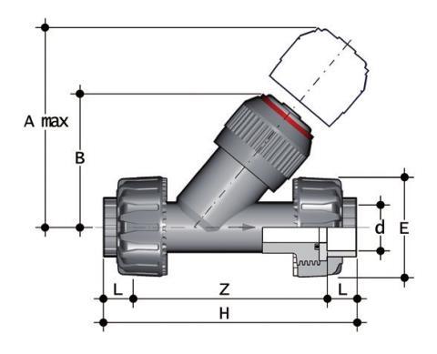 Фото Угловой обратный клапан VR с разборными муфтовыми окончаниями d40 (DN32)