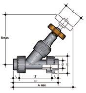 Фото Угловой вентиль VV с разборными муфтовыми окончаниями d63 (DN50)