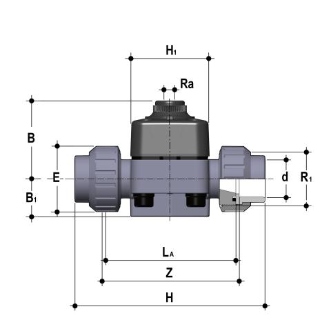 Фото Мембранный клапан с пневмоприводом прямого действия, DK d32 (DN25)