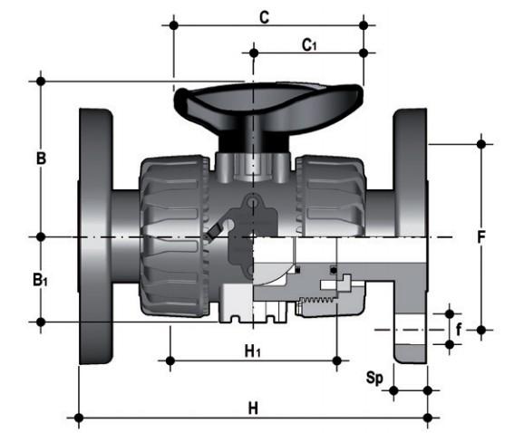 Фото Шаровой кран промышленного применения VKD с фланцевыми окочаниями d20 (DN15)