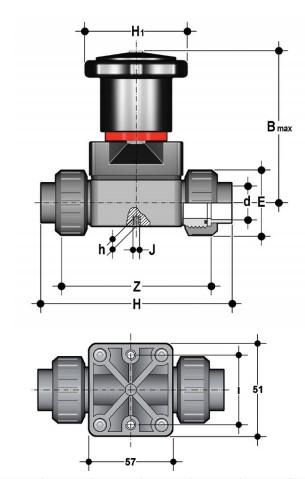Фото Компактный мембранный клапан CM с пневмоприводом ДвД, резьбовые окончания R1/2'' (DN15)