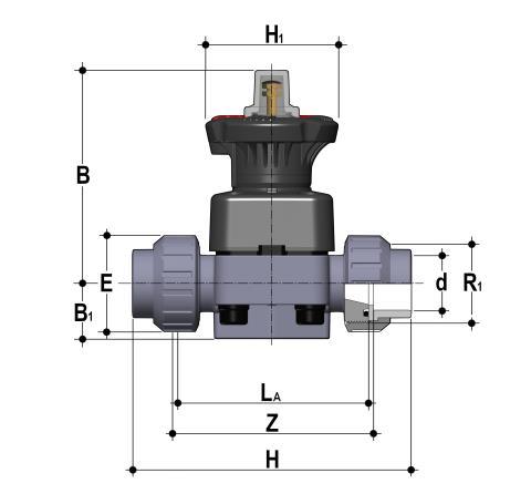 Фото Мембранный клапан DK/L с разборными муфтовыми окончаниями d32 (DN25)