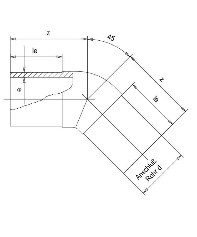 Отвод 45° (Simona) d315 SDR17.6 PN10